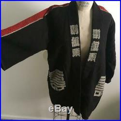 Vintage Reversible Red & Black Japanese Happi Hanten Jacket Kimono Style Coat