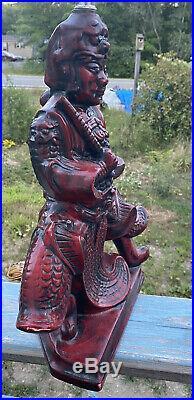 Vintage Royal Haeger Red Japanese Asian Warrior Samurai Lamp 29H Working