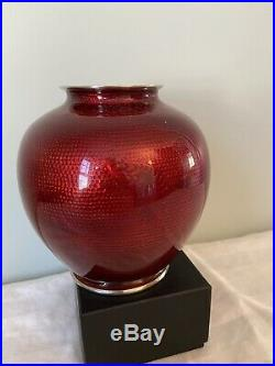 Vintage Sato Japanese Cloisonne Pigeon Blood Vase with Rose and Cherry Blossom