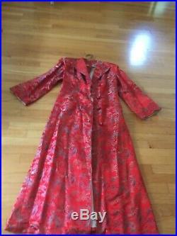 Vintage Shanghai Asian Japanese Chinese RED Silk SATIN WWII Coat Kimono Robe WW2