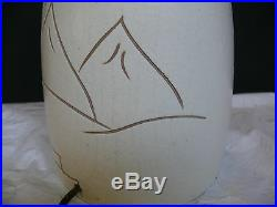 Vintage Signed Japanese Characters Pottery Lamp Birdhouse in Cherry Blossom Tree