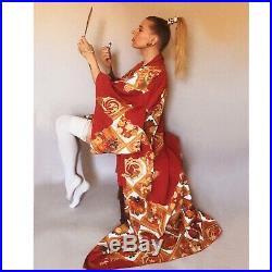 Vintage Silk Handpainted Kimono Japan Red Floral Burlesque Pinup Dressing Robe