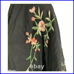 Vintage Silk Kimono Japanese Embroidered Cherry Blossom Floral Black 1920s