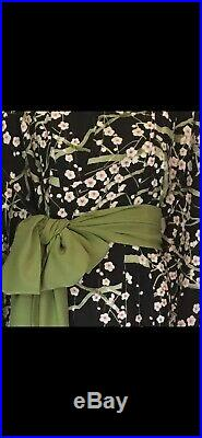 Vintage Silk Kimono Long Black Robe with Cherry Blossoms & Green Sash