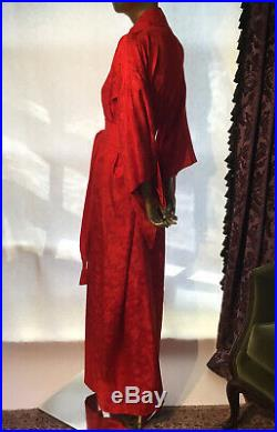 Vintage Silk Kimono Long Robe With Sash Lined Red Floral Design