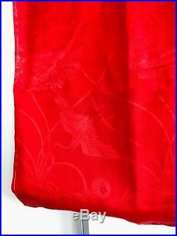 Vintage Solid Red Kimono 100% Silk Cotton Lining Wedding Japanese Robe Handmade