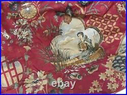 Vintage Spectrum Red Vibrant Geisha Japanese Lady Crafts FABRIC REMNANT 4.75m