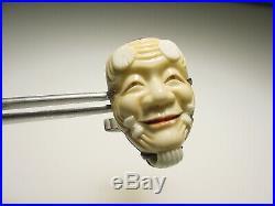Vintage Sterling Silver Toshikane Paint Japanese Porcelain Kabuki Mask Cufflinks