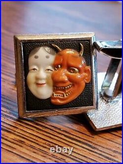 Vintage Toshikane Japanese Red Hannya Okame Cufflinks Japan Cuff Links Jewelry