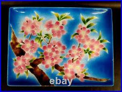 Vintage Tutanka Shippo Yaki Japanese Enamel Cloisonne Tray Cherry Blossoms mABB