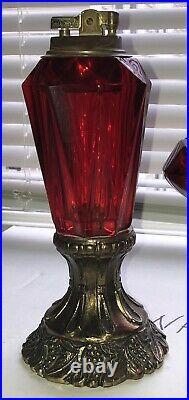 Vintage Viking Ruby Red Glass & Brass Table Top Lighter & Ashtray Japanese Set