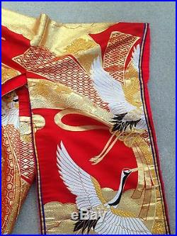 Vintage red japanese kimona with gold thread
