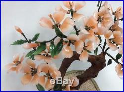 Vtg 18 Japanese gemstone Bonsai sculpture jade peach Tree Cherry blossom