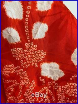 Vtg 1930s Jacquard Silk Japanese Hand Tie Dyed Shibori KIMONO Bohemain S M L