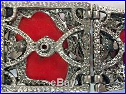Vtg 1950's Selro Corp. Japanese Noh Okina Mask The Red Devil Parure Set Signed