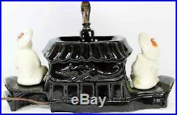 Vtg 1954/55 Premco Mfg Boat Lamp Oriental Red Dragon Shade Black/Gold Japanese