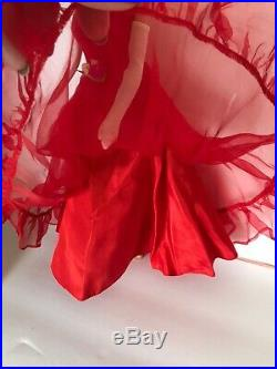 Vtg 1960s Barbie Clothes Lot #1614 Red Chiffon Junior Prom Gown Fur Japanese