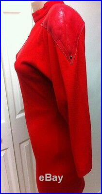 Vtg 80s JUNKO KOSHINO Japanese Designer Made In Italy Wool Dress Red Leather
