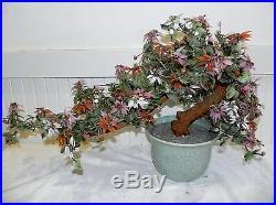 Vtg Japanese Chinese Carved Jade White Pink Cherry Blossom Bonsai Tree Plant 29