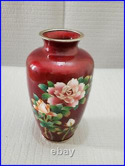 Vtg Japanese Ginbari Cloisonne Enamel Pidgeon Blood Red Vase 7 3/8'' T #2
