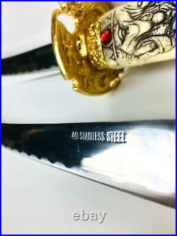 Vtg Japanese Katana Samurai Swords 440 Stainless Steel Dragon Carved Handles