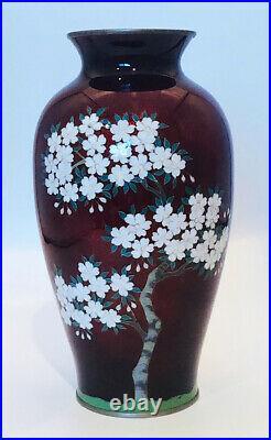 Vtg Japanese Yamamoto Pigeon Blood Red Ginbari Foil Cloisonne Vase 8 Vase