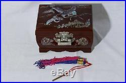 Vtg Mother of Pearl Inlaid Crane Japanese Jewelry Music Box Red Velvet Interior