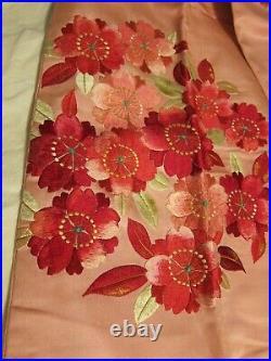 Vtg Pink Silk OBI Sash Blue Embroidered Flowers Cherry Blossom Floral