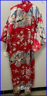 Vtg Silk Kimono Women Japanese Robe Red Floral No Belt Made in Japan