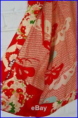 WWII SOUVENIR HOARI Vintage 1940's Japanese Red Silk Hoari Kimono Smoking Jacket