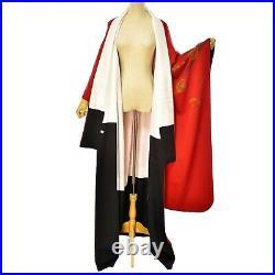 Women's Vintage Furisode Silk Red Gold Flower Kimono Japanese Harajuku Robe belt