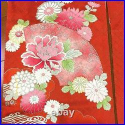 Women's Vintage Furisode Silk Red Pink Flower Kimono Japanese Harajuku Robe belt