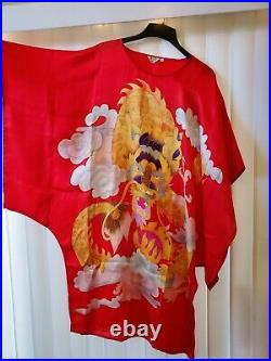 Womens Vintage Red Dragon Silk Japanese Caftan Kimono Dress Cover Up One Size